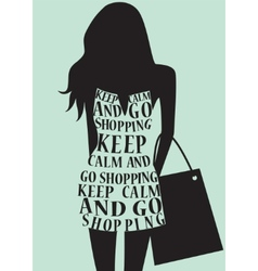 Silhouette of woman in dress from words vector image