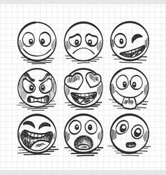sketch of hand drawn set of cartoon emoji vector image vector image