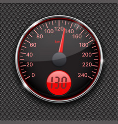 Speedometer round black gauge with chrome frame vector