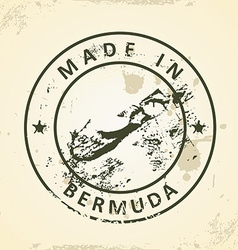 Stamp with map of Bermuda vector image