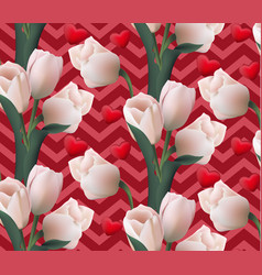 Tulip flowers retro style pattern background vector