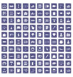 100 credit icons set grunge sapphire vector