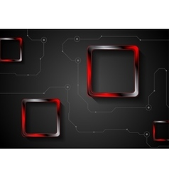 Technology background with lines and red glossy vector