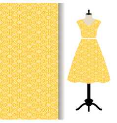 Women dress fabric with yellow pattern vector