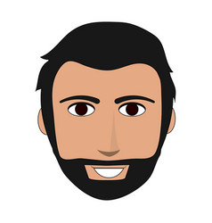 Color image front face man with beard and vector