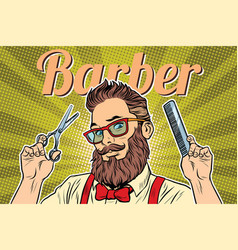 Bearded hipster barber with scissors and comb vector