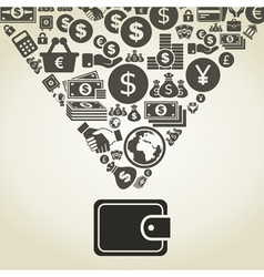 Money from purse vector image