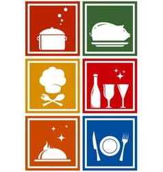Colorful icons with kitchen objects vector