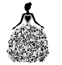 Silhouette of beautiful dress vector