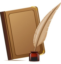book and feather with inks vector image