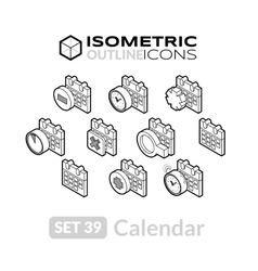 Isometric outline icons set 39 vector
