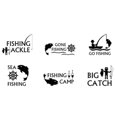 Fishing symbols set vector