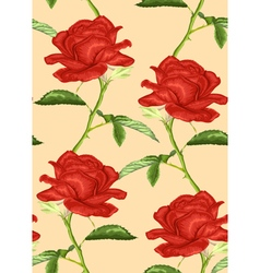 Seamless background with roses stem and leaves vector