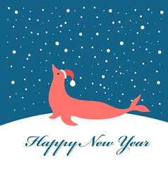 Bright christmas card with fur seal vector