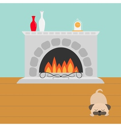 Fireplace with fire sleeping mops pug dog vase set vector