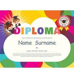 Preschool elementary school kids diploma vector