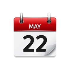 May 22 flat daily calendar icon date and vector