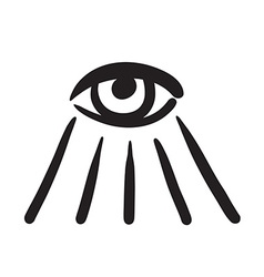 Hand drawn eye symbol icon vector