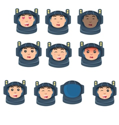 Astronaut set of emotions in a flat style vector