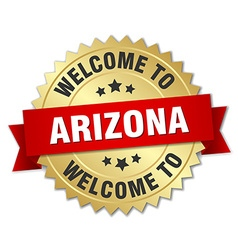 Arizona 3d gold badge with red ribbon vector