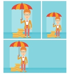 Business woman with umbrella protecting money vector