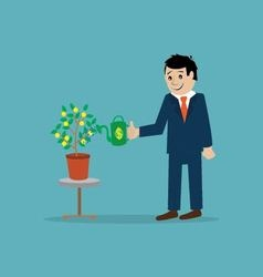 Businessman watering money tree vector