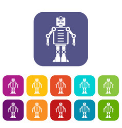 Artificial intelligence robot icons set flat vector