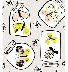 Artistic butterfly in jar pattern vector