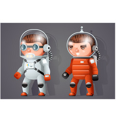 Astronaut cosmonaut spaceman space sci-fi icons vector