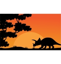 At sunset dinosaur triceratops scenery vector