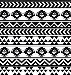 Aztec tribal seamless black and white pattern vector image vector image