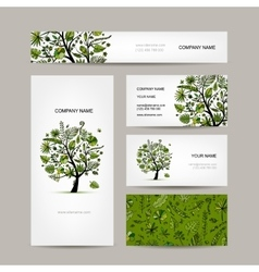 Business card collection tropical tree design vector