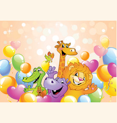 cartoon animals cheerful background vector image vector image