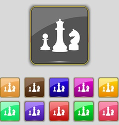 Chess game icon sign set with eleven colored vector