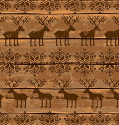 Christmas seamless pattern with deers and vector image vector image