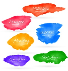 colorful set of watercolor stain collection vector image vector image