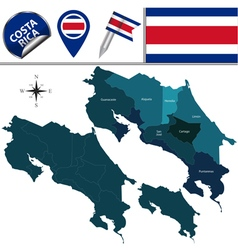 Costa rica map with named divisions vector