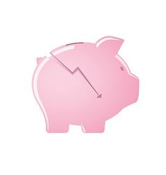 Cracked pink piggy bank vector