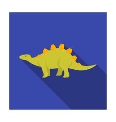Dinosaur stegosaurus icon in flat style isolated vector