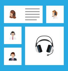 Flat center set of help telemarketing hotline vector