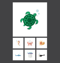 Flat icon nature set of cancer fish hippocampus vector