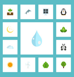 flat icons night sky sprout and other vector image vector image
