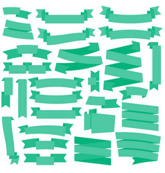 green ribbons set vector image