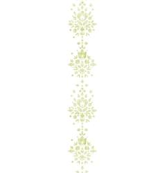 Green textile damask flower vertical border vector