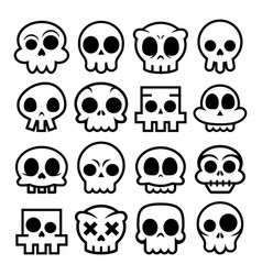 Halloween cartoon skull icons mexican cute vector
