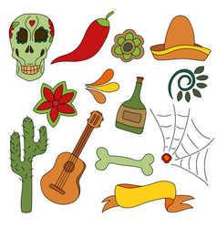 hand drawn set of mexican symbols - guitar vector image