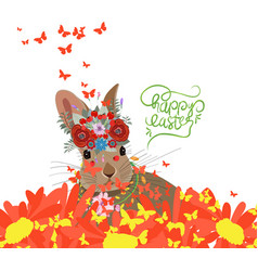 happy easter with rabbit sunflowers and vector image vector image