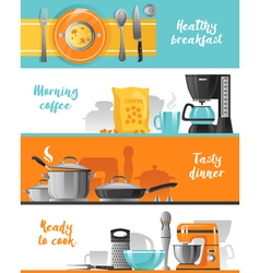 Kitchen Utensil Horizontal Banners Collection vector image vector image