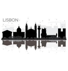 Lisbon city skyline black and white silhouette vector