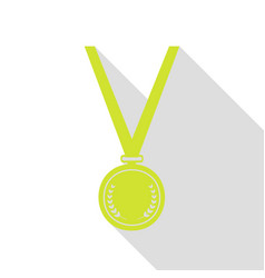 Medal simple sign pear icon with flat style vector